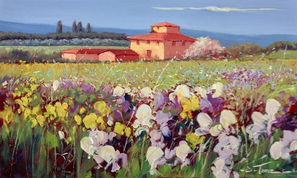 Giallo e Viola VI by Bruno Tinucci -  sized 20x12 inches. Available from Whitewall Galleries